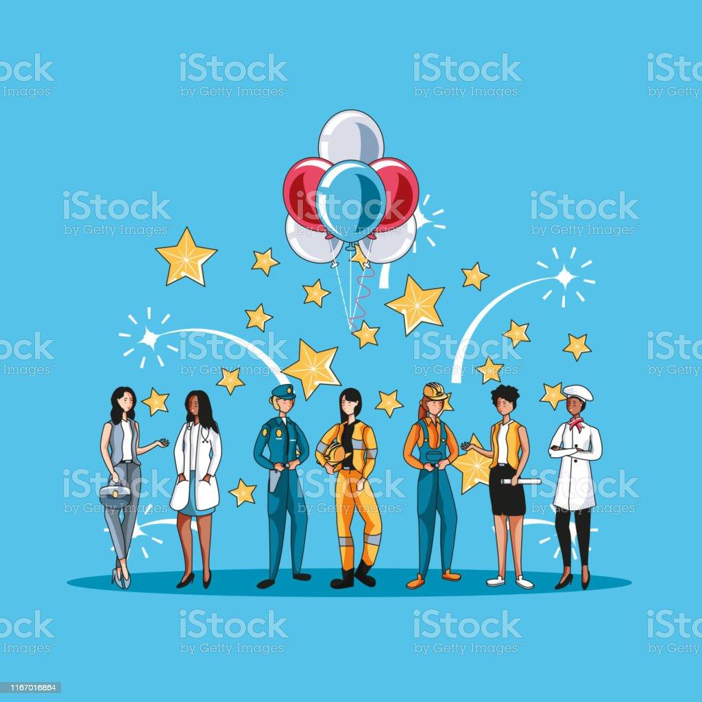 Dia Del Trabajador Mujeres ilustración de feliz etiqueta del día del trabajo con el