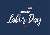 Happy Labor Day lettering blue card. Vector illustration. EPS10