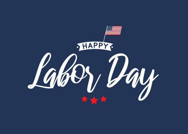 happy labor day lettering blue card. vector - labor day stock illustrations, clip art, cartoons, & icons
