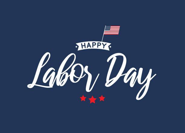 happy labor day schriftzug blaue karte. vektor - tag der arbeit stock-grafiken, -clipart, -cartoons und -symbole