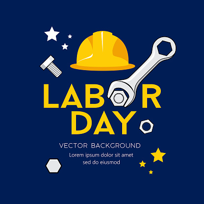 Happy Labor day message Vector, Wrench Design on navy blue background