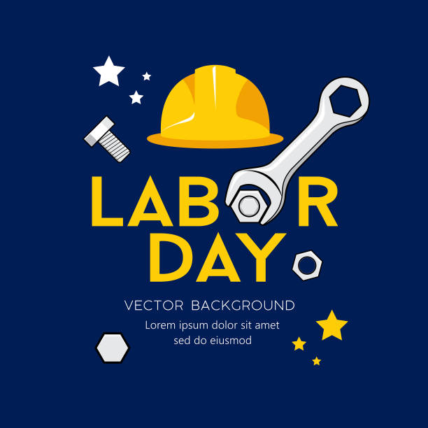 happy labor day message vector, wrench design on navy blue background - may day stock illustrations, clip art, cartoons, & icons