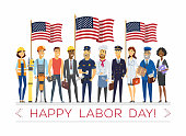 Happy labor day - modern vector colorful illustration on white background, celebration poster, banner with american flags. People of different professions and nationalities standing together