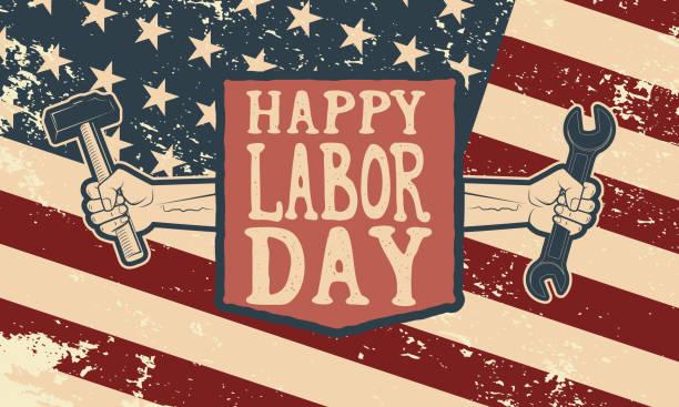 ilustraciones, imágenes clip art, dibujos animados e iconos de stock de happy labor day poster template. flag of usa on grunge - día del trabajo