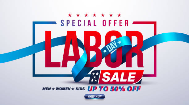 happy labor day poster.usa labor day celebration with blue ribbon.sale promotion advertising brochures,poster or banner for american labor day.vector illustration eps10 - may day stock illustrations, clip art, cartoons, & icons