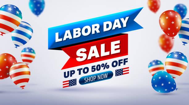 Happy Labor Day Vente 50% de rabais sur l'affiche. Célébration de jour de travail des USA avec le drapeau américain de ballons. Publicité de promotion de vente Brochures, affiche ou bannière pour l'illustration américaine de labor-office EPS10 - Illustration vectorielle