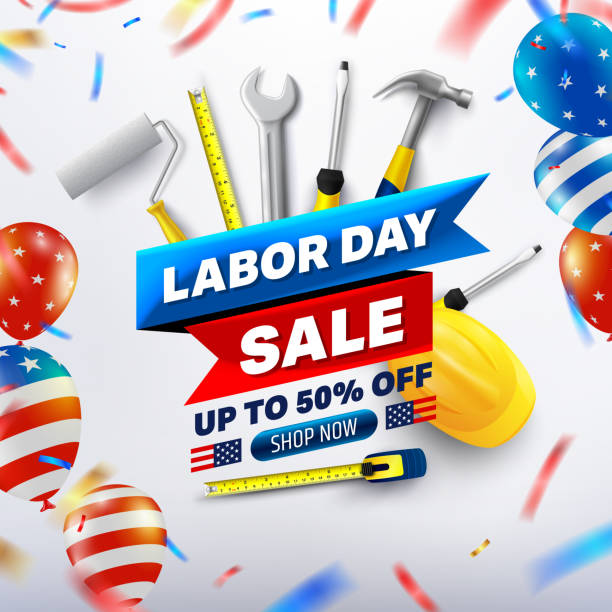Happy Labor Day Sale 50% off poster.USA labor day celebration with American balloons flag.Sale promotion advertising Brochures,Poster or Banner for American Labor Day.Vector illustration EPS10 vector art illustration