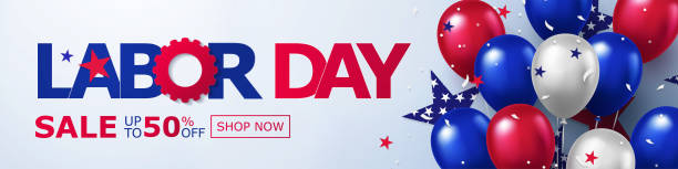 Happy Labor Day Sale long horizontal banner. USA festive design with helium balloons in national colors of american flag and stars pattern. Happy Labor Day Sale long horizontal banner. USA festive design with helium balloons in national colors of american flag and stars pattern. Template  for sale, discount, advertisement, web. labor day stock illustrations