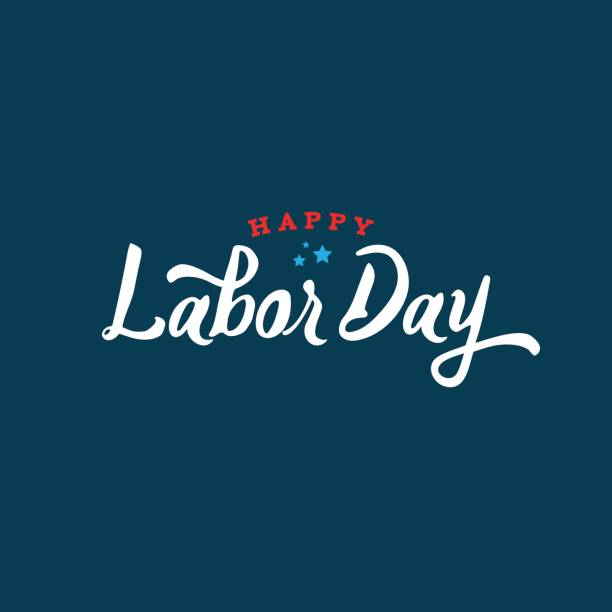 happy labor day text vector - labor day stock illustrations, clip art, cartoons, & icons