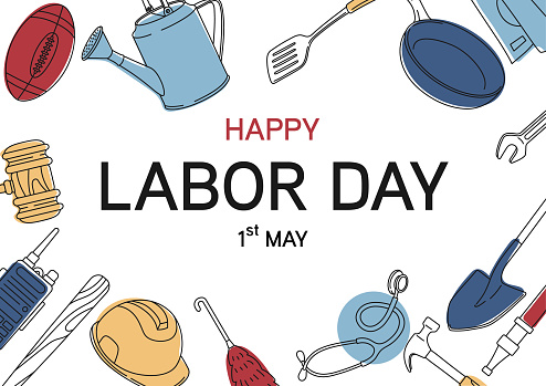 happy labor day text  with simple doodle line equipment at background use as greeting card in retro style