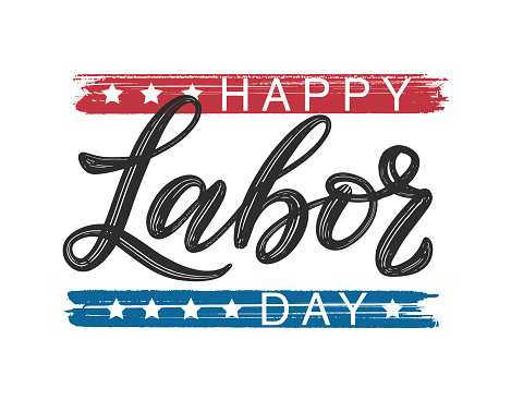 Happy Labor Day typography poster. Modern brush calligraphy as card, postcard, poster, banner, label. USA Labor Day celebration design in traditional flag colors and stars