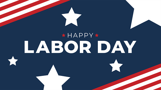 Happy Labor Day Typography with American Flag Border and Stars, Patriotic Horizontal Vector Illustration