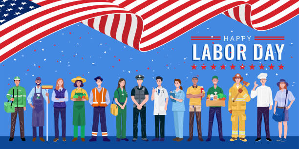 Happy Labor Day. Various occupations people standing with American flag. Vector eps 10 labor day stock illustrations