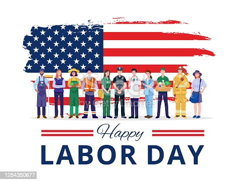 istock Happy Labor Day. Various occupations people standing with American flag. Vector 1254350677