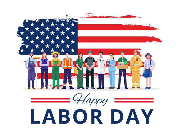 Happy Labor Day. Various occupations people standing with American flag. Vector eps 10, no layers labor day stock illustrations