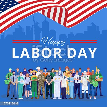 istock Happy Labor Day. Various occupations people standing with American flag. Vector 1270916446