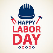 Let's celebrate and honor the labor movement on the holiday of Labor Day with work helmet, hammer, piler and wheel nut