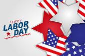 Happy Labor Day vector illustration. American flag inside scattered stars. USA national holidat design concept.