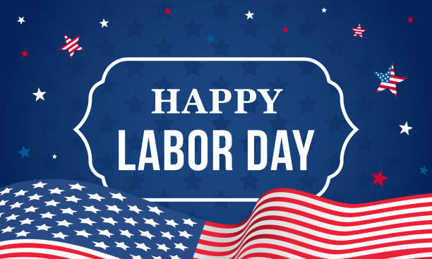 happy labor day vector illustration, usa flag waving with falling stars on blue background. - labor day stock illustrations, clip art, cartoons, & icons