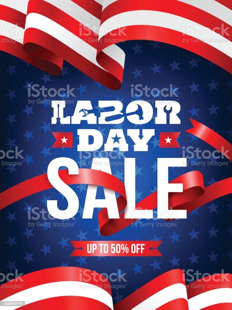 アメリカの国旗の背景を持つハッピー労働者の日労働日の販売促進広告