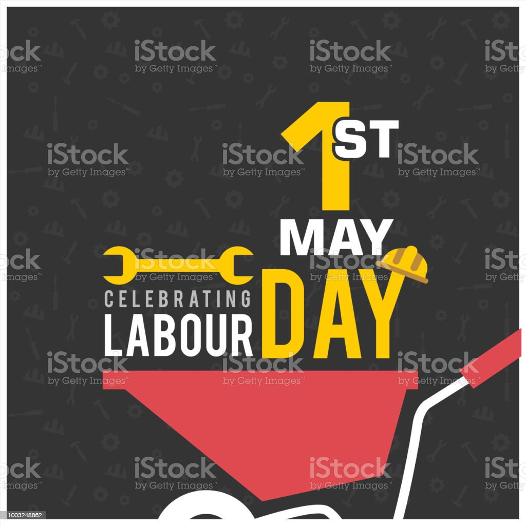 Happy Labor Day with Wrench Symbol vector art illustration