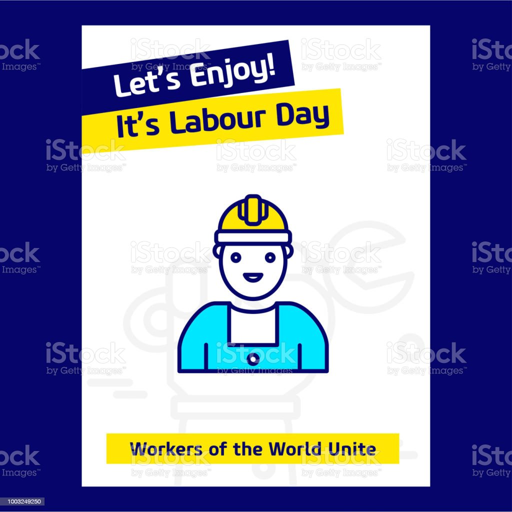 Happy Labour day design with blue and yellow theme vector with labor icon vector art illustration