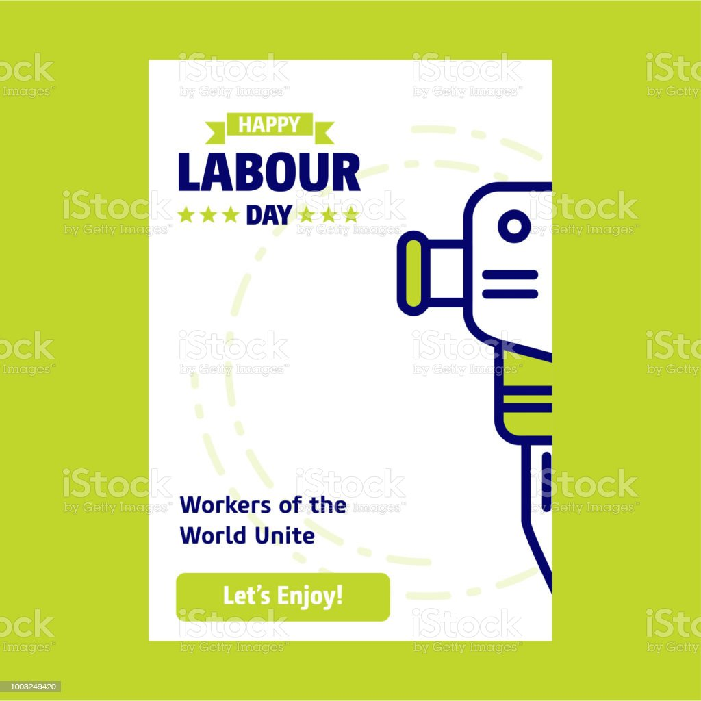 Happy Labour day design with green and blue theme vector with constructions tool icon vector vector art illustration