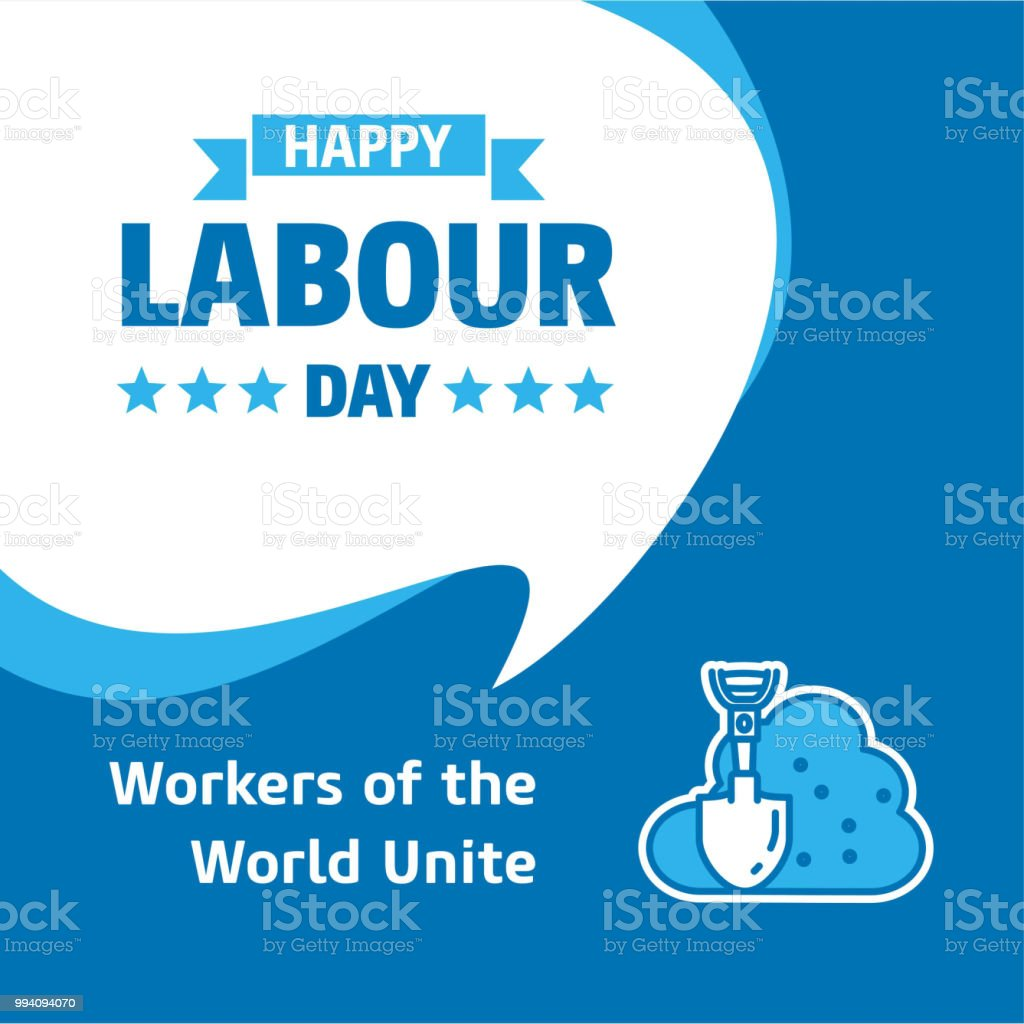 Happy Labour day design with white and blue theme vector with spade icon vector vector art illustration