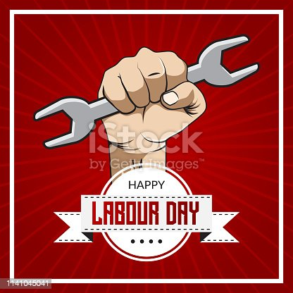 Happy Labour Day with hand and creative