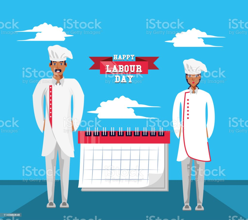 Happy Labour Day With Chef And Calendar Stock Illustration
