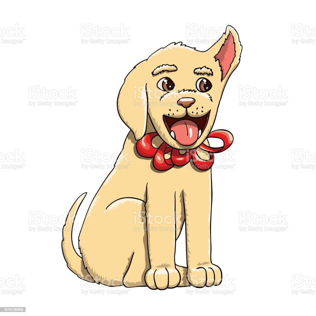 Happy Labrador Retriever Puppy As A Present With Bowknot Stock