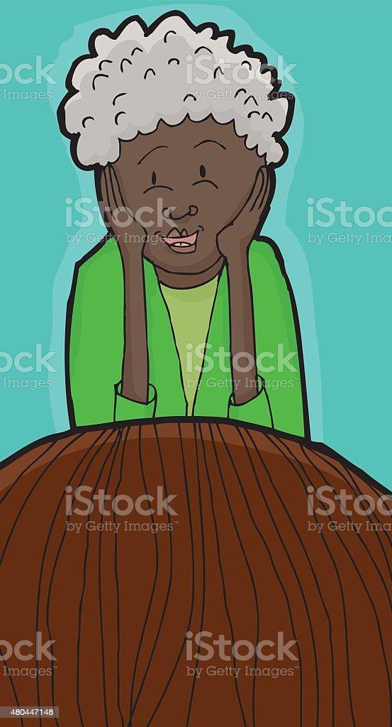 Happy Lady Listening to Friend vector art illustration