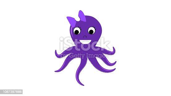 Happy Lady Octopus violate color vector