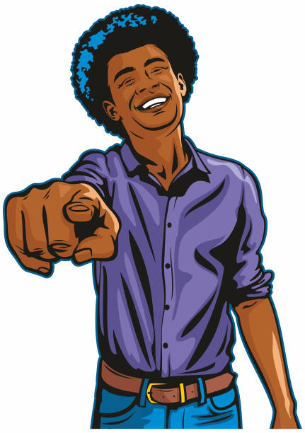 Happy Laughing Black Man Pointing at You vector art illustration