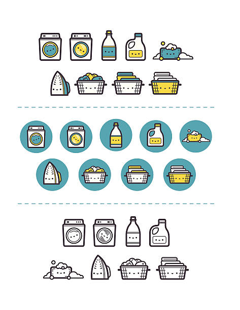 Happy laundry washing items icon set Set of laundry icon items like washer, dryer, soap and more. Blue, yellow, brown in circle and line. EPS 10, without transparency. laundry basket stock illustrations