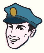 this is an illustration of a police officer smiling, drawn in a retro style for all your needs.