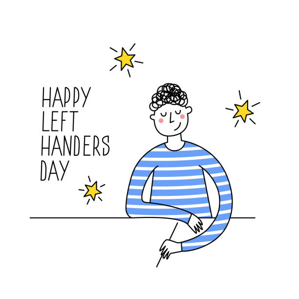 illustrazioni stock, clip art, cartoni animati e icone di tendenza di happy left-handers day. august 13, international lefthanders day greeting card. support your lefty friend. left-handed boy writing or drawing. vector illustration, modern line style - mancino