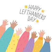 istock Happy Left-handers Day. August 13, International Lefthanders Day greeting card. Support your lefty friend. Kid's left hands raised up together. Vector illustration, line style 1251612578