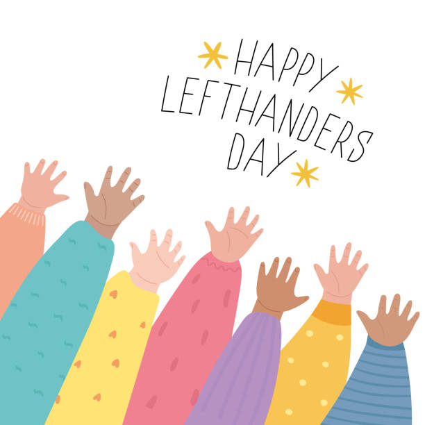 illustrazioni stock, clip art, cartoni animati e icone di tendenza di happy left-handers day. august 13, international lefthanders day greeting card. support your lefty friend. kid's left hands raised up together. vector illustration, line style - mancino