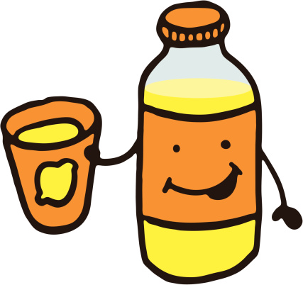 Happy lemonade bottle character
