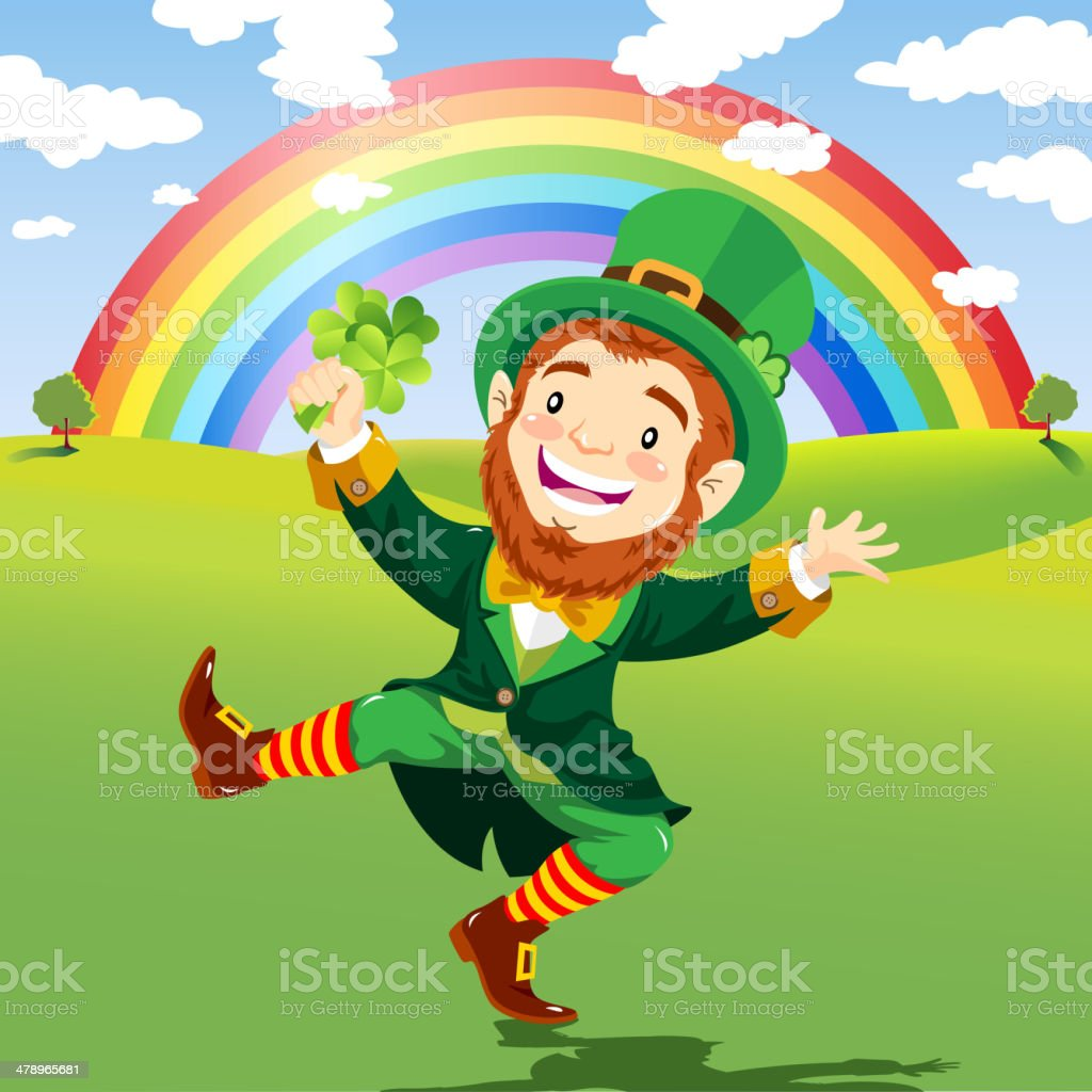 Happy Leprechaun in a Nature Background with Rainbow vector art illustration