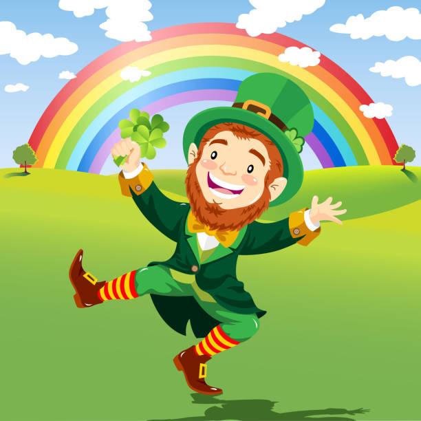szczęśliwy leprechaun na tle przyrody z rainbow - happy holidays stock illustrations