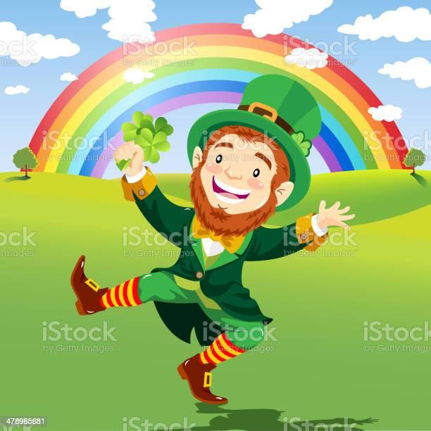 Szczęśliwy Leprechaun Na Tle Przyrody Z Rainbow - Stockowe grafiki wektorowe i więcej obrazów Dorosły
