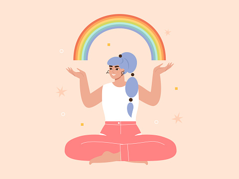 Happy lesbian woman holding a colorful rainbow symbol. LGBT activist, pride movement concept. Gay rights, support and equality. Homosexual character.