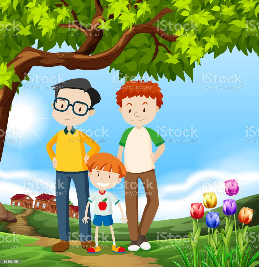 A Happy LGBT Adoption Family - Royalty-free Adoption stock vector