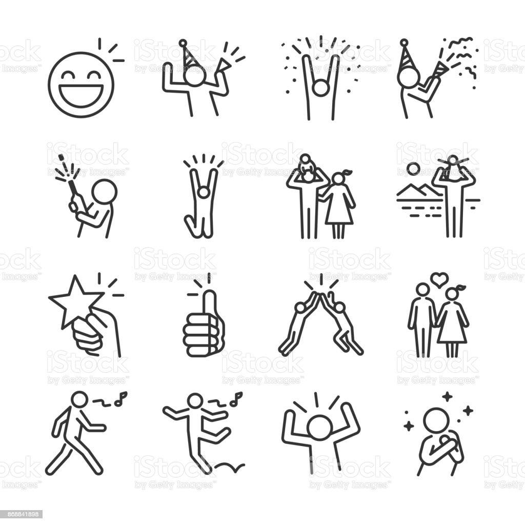 Jeu d'icônes ligne heureux. Inclus les icônes comme plaisir, jouir, fête, bonne humeur, célébrer, succès et bien plus encore. jeu dicônes ligne heureux inclus les icônes comme plaisir jouir fête bonne humeur célébrer succès et bien plus encore vecteurs libres de droits et plus d'images vectorielles de adulte libre de droits
