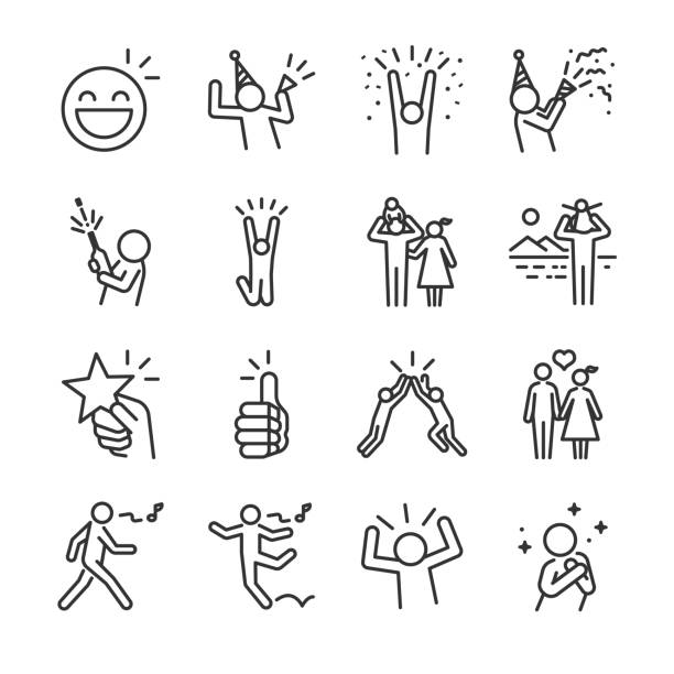 Happy line icon set. Included the icons as fun, enjoy, party, good mood, celebrate, success and more. vector art illustration