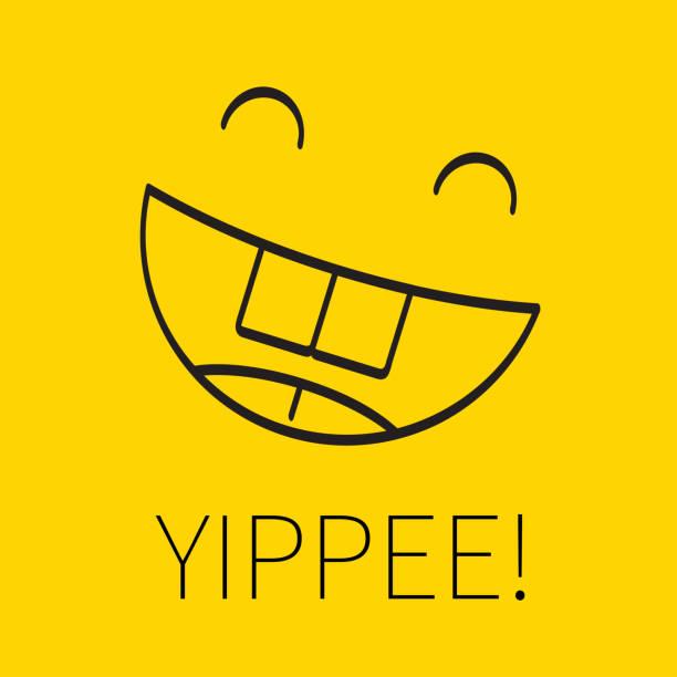 ilustraciones, imágenes clip art, dibujos animados e iconos de stock de feliz sonriente lineal - emoji emocionado