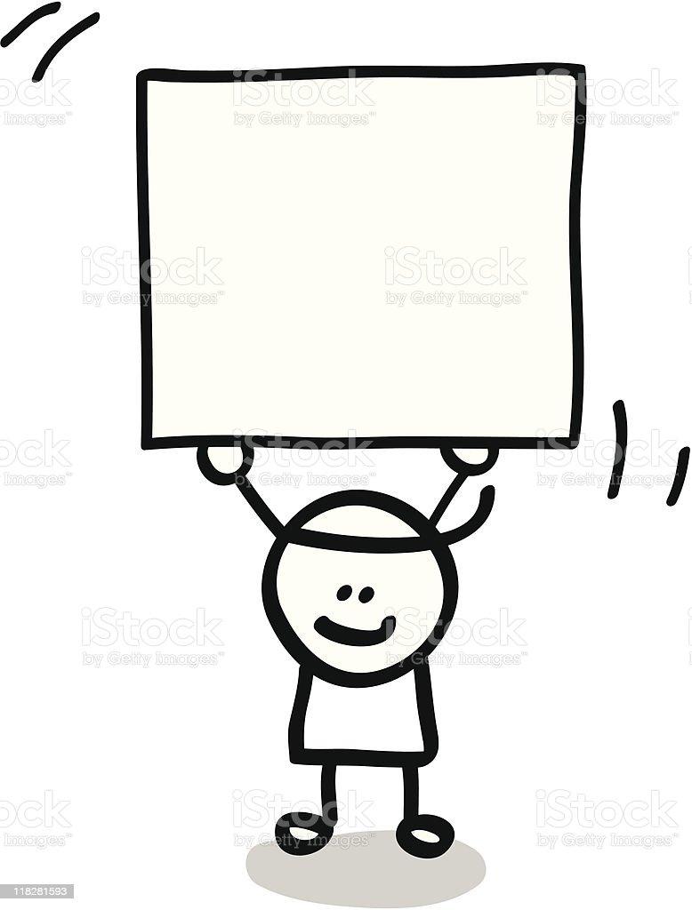happy lineart boy kid holding banner cartoon illustration royalty-free stock vector art