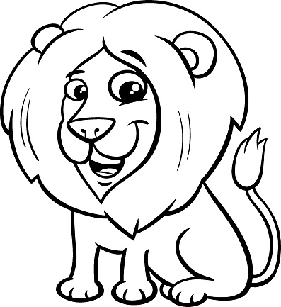 happy lion animal character cartoon color book
